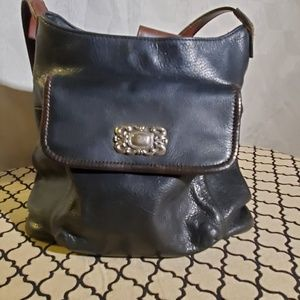 VTG Fossil Black Leather Shoulder Bag